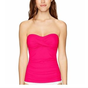 Anne Cole Twist Front Ruched Tankini Top S